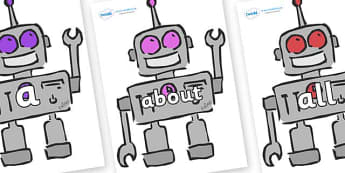 100 High Frequency Words on Robots - High frequency words, hfw, DfES Letters and Sounds, Letters and Sounds, display words