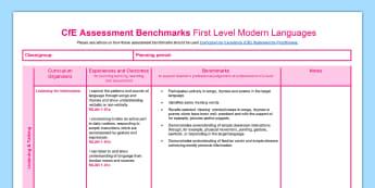 CfE First Level Modern Languages Assessment benchmarks Assessment Tracker - CfE Benchmarks, tracking, tracker, assessing, progression, progress, modern languages, Scottish, ,Sc