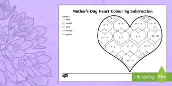 Mother\'s Day Heart Subtraction Colouring Page - Mother's Day Maths, maths, mother, mother's day, mum, subtraction, subtracting, colours, heart, Ye