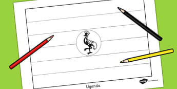 Uganda Flag Colouring Sheet - countries, geography, colour
