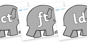 Final Letter Blends on Grey Elephant to Support Teaching on Elmer - Final Letters, final letter, letter blend, letter blends, consonant, consonants, digraph, trigraph, literacy, alphabet, letters, foundation stage literacy