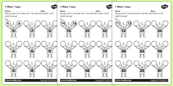 1 More 1 Less Robots Activity Sheet - activity, robot, numbers, worksheet