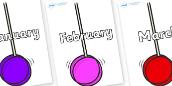 Months of the Year on Yoyo - Months of the Year, Months poster, Months display, display, poster, frieze, Months, month, January, February, March, April, May, June, July, August, September