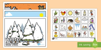 Seasonal Pictures Cut and Stick Activity English/Romanian - Seasonal Pictures Cut and Stick Activity - seasonal picture, cut and stick, activities, cut and stic