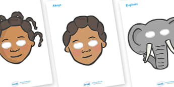 Handa's Surprise Role Play Masks - Handa's Surprise, Eileen Browne, resources, Handa, Akeyo, mango, guava, Africa, avacado, passion fruit, monkey, African animals, story, story book, story book resources, story sequencing, story resources, role play