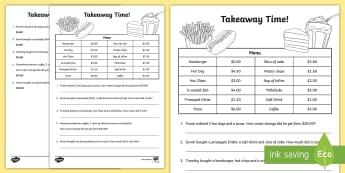 Takeaway Maths Activity Sheet - Australian currency, money, notes, coins, Australian curriculum, maths, ACMNA034, worksheet, austral