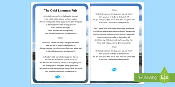 The Auld Lammas Fair Song Lyrics - World Around Us KS2 - Northern Ireland, The Ould Lammas Fair, The Auld Lammas Fair, Ballycastle, Yel