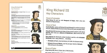 Richard III Key Characters Information Sheet - richard III, sheet