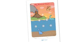 Dinosaur Sticker Reward Chart (15mm) - Dinosaur Reward Chart (15mm), dinosaur, reward chart, chart, reward, 15mm, 15 mm, stickers, twinkl stickers, award, certificate, well done, behaviour management, behaviour