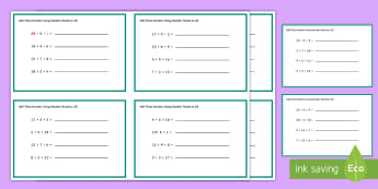 Adding Three Numbers Using Numbers Bonds to 20 Challenge Cards - Add Three One Digit Numbers Number Bonds to 10 KS1 Math Challenge, numbes, challange, number bondd,