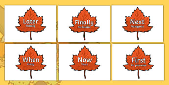Time Conjunctions on Autumn Leaves English/Polish - Time Conjunctions on Autumn Leaves - time connectives, autumn, autmn, autunm, atumn, conectives, aun