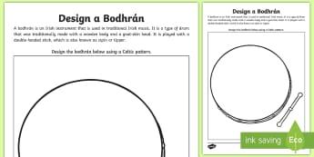 Design a Bodhrán Activity Sheet - St. Patrick's Day Resources, Irish, saint patrick, st patrick's day