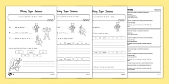 Writing Super Sentences Differentiated Activity Sheets New Zealand - nz, new zealand, GPS, grammar, punctuation, capital letters, full stops, worksheet