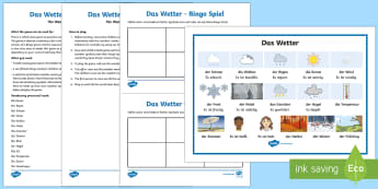 Weather Bingo German - Weather, Wetter, Bingo, Spiel, German, Deutsch