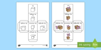 Spanish Prepositions Dice - Spanish, KS2, prepositions, dice,Spanish
