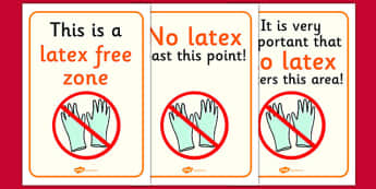 Latex Free Zone Sign - latex, free, zone, sign, latex free, display