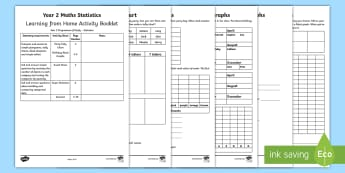 Year 2 Maths Statistics Home Learning Activity Booklet - maths, statistics, year 2, worksheets, y2, home, support, parents, workbook, homework, data, numerac