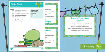 EYFS Flying Alien Science Experiment and Prompt Card Pack - Aliens Love Underpants, Claire Freedman, space, little green man, balloon, investigation