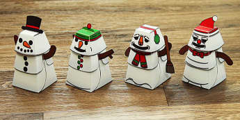 Build a 3D Snowman Activity - build, 3d, snowman, activity, craft, model, paper