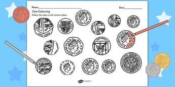 Coins Colouring Activity Sheet- money, coins, numeracy, colour