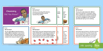 Australia Chemical Science Did You Know Fact Cards-Australia - Australia Science, chemical sciences, year 5, year 6, australian curriculum, fact cards, display car