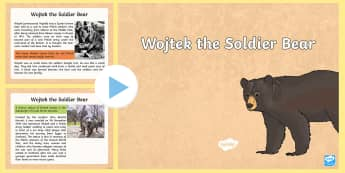 Second World War Wojtek Soldier Bear Information PowerPoint - CfE Social Studies, people in past societies, world war two, army, soldiers, front line,Scottish