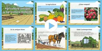 Presentación: Agricultura antigua y moderna - comida, agricultura, presentación, historia, antigüedad, moderno, PowerPoint,Spanish