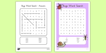 Bugs Word Search - usa, america, bugs, word search, wordsearch