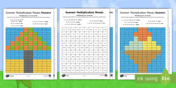 KS1 Summer Multiplication Mosaics Differentiated Activity Sheets - Requests KS1, ks1 times tables, ks1 numeracy, x2, x3, x5, x10, times tables, multiplication mosaics,