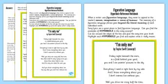 Figurative Language Activity and Reference Sheet Hyperbole