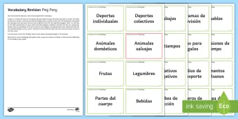 Ping Pong Vocabulary Revision Challenge Cards Spanish  - Spanish, Vocabulary, topics, ping, pong, revision, challenge, cards, game,French