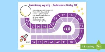 Plansza Kosmiczny wyścig Dodawanie liczby 10 - suma, dodaj, oblicz, matematyka, kosmos, rakieta, działania, planszówka,Polish