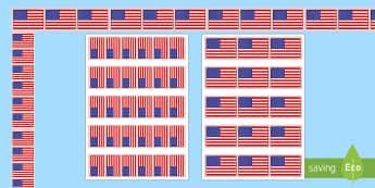 American Flag Display Borders - Flag Day, Bulletin Board, American Flag, USA Flag, United States Flag, stars and stripes
