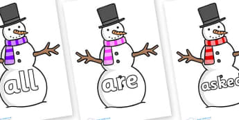 Tricky Words on Snowman - Tricky words, DfES Letters and Sounds, Letters and sounds, display, words