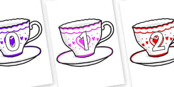 Numbers 0-50 on Cups and Saucers - 0-50, foundation stage numeracy, Number recognition, Number flashcards, counting, number frieze, Display numbers, number posters