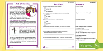 KS1 Ash Wednesday Differentiated Reading Comprehension Activity - KS1, year 1, year 2, yr 1, yr 2, year one, year two, reading, reading comprehension, ash wednesday,