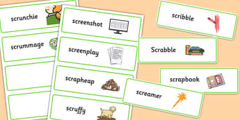 Two Syllable SCR Word Cards - speech sounds, phonology, articulation, speech therapy, cluster reduction, complex clusters, three element clusters