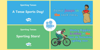 Spag-tastic! Sporting Tenses Video Pack - ks1, year 2 , y2, past, present, continuous, progressive, tense