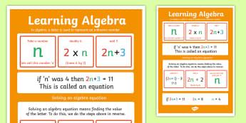 Large Algebra Poster - algebra, poster, display poster, display