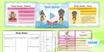 PlanIt - RE Year 3 - Hinduism Lesson 2: Main Beliefs Lesson Pack - hinduism, deities, dharma, karma, reincarnation