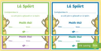 Lá Spóirt: Teastais Iarrachta - Sports Day Certificate, teimpléad teastais, lá spóirt, sports day, effort, iarracht, teastais, ce