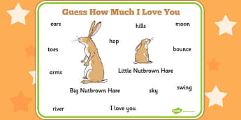 Guess How Much I Love You Word Mat - visual aid, keywords, story