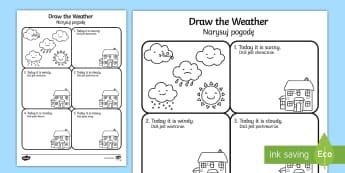 Draw the Weather Activity Sheet English/Polish - Draw the Weather Activity Sheet - weather, worksheet, drawing, sheet, waether, WHEATHER, wetaher, we