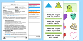 EYFS 2D Shape Eating Monsters Adult Input Plan and Resource Pack - Beginning to use mathematical names for  'flat' 2D shapes, and mathematical terms to describe sh