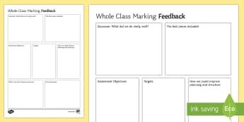Whole Class Feedback Sheet Editable Proforma - secondary, whole school literacy, feedback, marking, essay, evaluation, self-assessment, peer assess