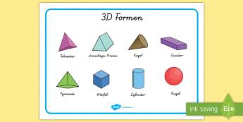 3D Formen Wortschatzsammlung: Querformat - 3D Formen, Wortschatzsammlung, Schreibhilfe, 3D Formen Namen, Formen, Bildern, Schreiben, Mathe, Geo