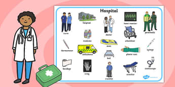 Hospital Word Mat - hospital, word mat, word, mat, doctors, health