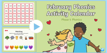 Phase 4 February Phonics Activity Calendar PowerPoint - phonics, calendar, monthly, reading, spelling, sorting, tricky words, letters and sounds, activity,