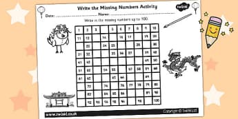 Chinese New Year Missing Numbers Number Square - chinese new year
