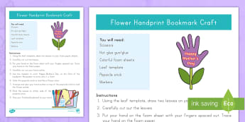 Mother\'s Day Handprint Bookmark Craft Instructions - Mother's Day, Mom, Bookmark, Gift Flower, Craft, Mother's Day Craft, Gift for Mom